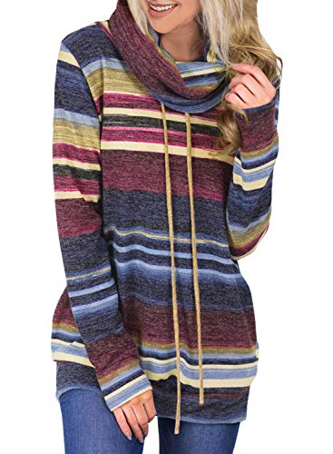 Asvivid Womens Color Block Striped Cowl Neck Sweatshirt Tops Lightweight Loose Pullovers Fashion Hoodie with Pocket S Blue (Best Women's Hoodies 2019)