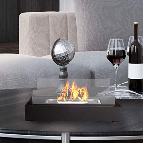 Northwest Bio Ethanol Ventless Fireplace-Tabletop Rectangular Real Flame Smokeless Clean Burning Indoor Outdoor Portable Heat-360 View Modern Décor