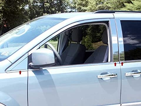 TOWN & COUNTRY 2008-2016 CHRYSLER (6 Pc: Stainless Steel Pillar Post Trim Kit, 4-door) PP48896:QAA (Dodge Caravan Door Accessories)