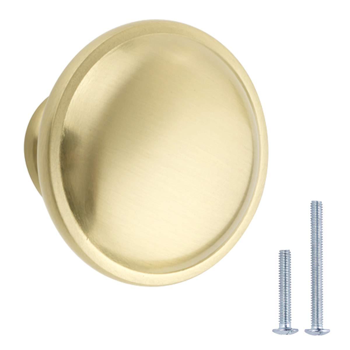 AmazonBasics Mushroom Cabinet Knob, 1.19'' Diameter, Golden Champagne, 25-Pack