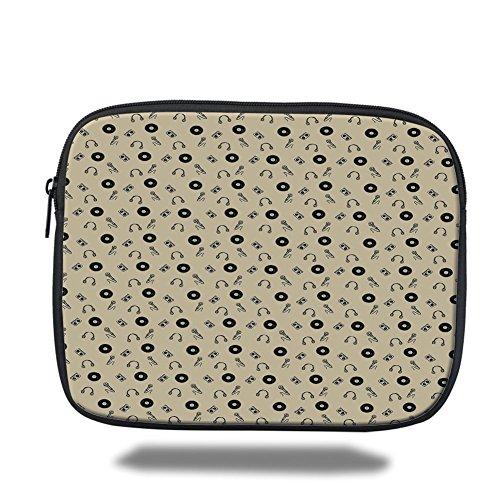 (Laptop Sleeve Case,Music,Retro Records Headphones Microphones Casette Tapes Melody in Sixties Graphic Art Decorative,Cream Black,iPad Bag)