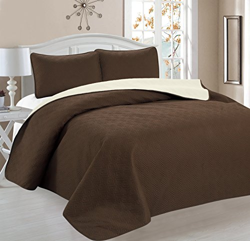 Home Sweet Home Victoria Design Reversible 3 PC Quilt Bedspread Sets (King, Brown/Beige) (King Quilt Brown)