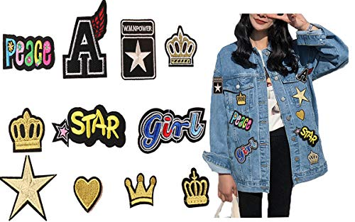 Embroidered Gold Patches Set - Kids Iron On/Sew On Appliques with Letter Heart Star Crown Girls Peaces Patterns Badges Logos for DIY T-Shirt Jackets Clothes Dresses Hats Jeans(11 PCS) ()