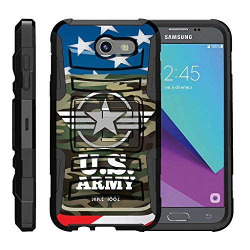Military Army Camo (TurtleArmor | Samsung Galaxy J3 Emerge Case | J3 (2017) | Amp Prime 2 | Express Prime 2 [Hyper Shock] Rugged Hybrid Shell Stand Case Holster Belt Clip Robot Military Army Design - Army Camo Flag)