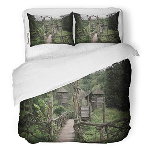 Semtomn Decor Duvet Cover Set Full/Queen Size Blue Old Medieval Wooden Fortification Green Castle Pagan Building 3 Piece Brushed Microfiber Fabric Print Bedding Set Cover