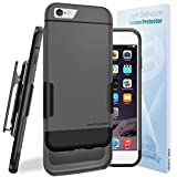 iPhone 6 Belt Case - New GLYDE Series Ultra-thin Slider Case w/ HD Screen Protection & Belt Clip Holster [Slim Fit Design] **Encased® Lifetime Warranty** [Apple iPhone6 4.7inch] (Gray/Black)