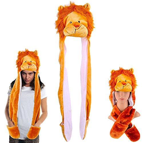 Dazzling Toys Plush Lion Hat with Long Paws Multi-Functional Novelty Hoodie Cap | Halloween Purim Christmas Costume Accessory