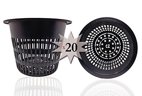 Cz Garden Supply 6 inch Net Pots HEAVY DUTY Round Cups WIDE RIM Design – Orchids Aquaponics Aquaculture Hydroponics Slotted Mesh (Cz All Star 20 Black Pots) Review