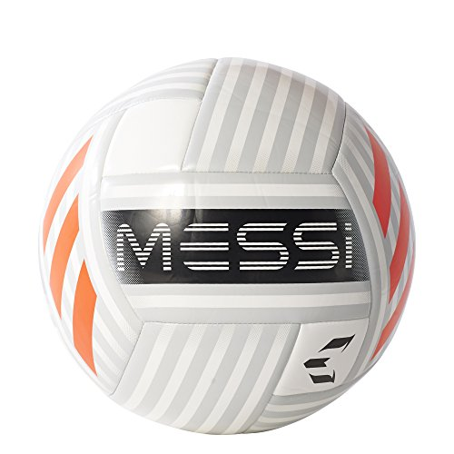 adidas Performance Messi Soccer Ball, White/Clear Grey/Black/Solar Red, Size 5