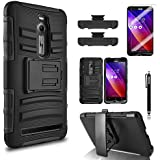 Asus Zenfone 2 Case, Combo Rugged Shell Cover Holster with Built-in Kickstand and Holster Locking Belt Clip Black...