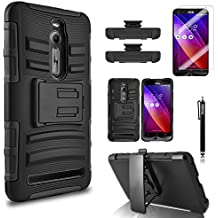 Asus Zenfone 2 Case, Combo Rugged Shell Cover Holster with Built-in Kickstand and Holster Locking Belt Clip Black + Circle(TM) Stylus Touch Screen Pen