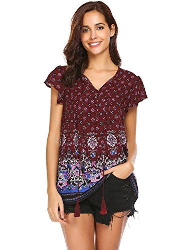 Aimado Bohemian Blouses Tunic Women's Fashion Girls Chiffon Embroidered Peasant Tops(Red,Small) (Chiffon Embroidered)