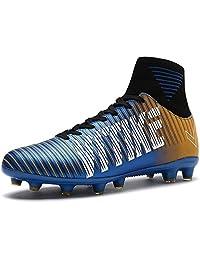 Littleplum Soccer Cleats Shoes Football Boots Cleats High-top Sock Shock Buffer Outdoor (5M US Big Kid, 1-Blue)