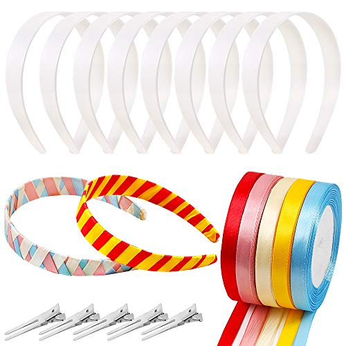 hite Plastic Headbands Hair Bands, 5 Pieces 5 Colors 1/2 Inch Wide by 25 Yard Satin Ribbon Roll and 5 Pieces Double Prong Pin Metal Hair Clips for DIY Colorful Headbands ()