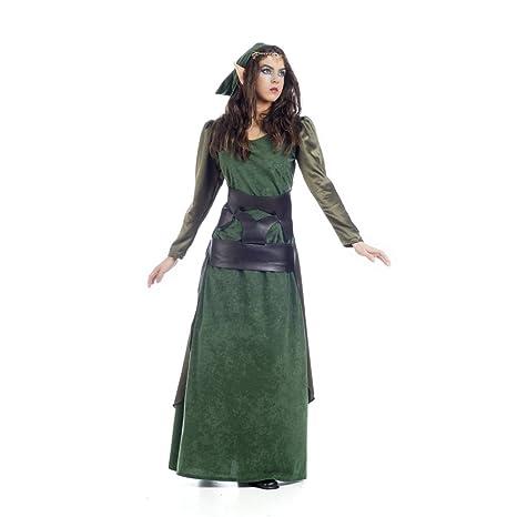 Costume per dame elfo dei legno verde 2 pezzi abito e sciarpa ... 1e0f6c0b264b