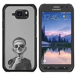 Caucho caso de Shell duro de la cubierta de accesorios de protección BY RAYDREAMMM - Samsung Galaxy S6Active Active G890A - Biología Cráneo oscuro profundo Ciencia