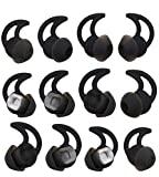 ALXCD Replacement Ear Tips for BOSE Soundsport Wireless Headphone, 6 Pair S/M/L Size Silicone Anti-Slip Earbud Tips, Fit for BOSE Soundsport Free [Black/6 Pair]