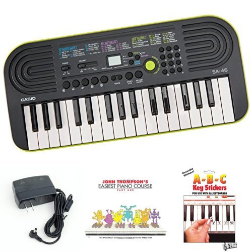 Casio SA46 Keyboard bundle with Casio Power Supply, John Thompson's Easiest Piano Course and ABC Keyboard Stickers