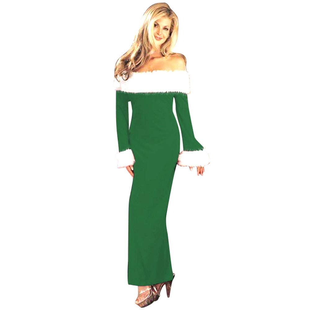 Women Dresses Women's Christmas Warm Long Sleeve Off Shoulder Cocktail Party Fit Slim Pencil Dress