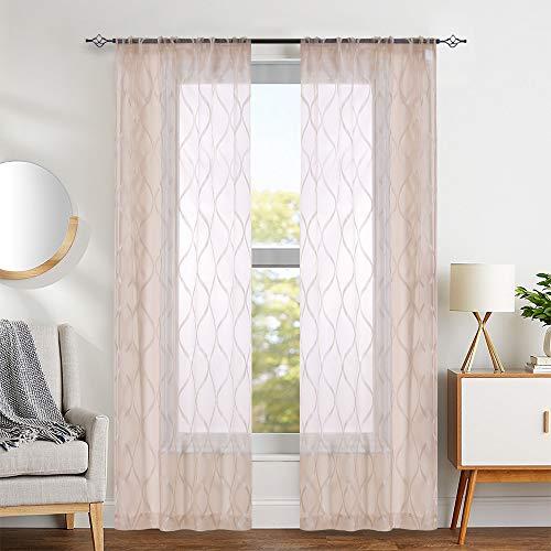 Wave Taupe Sheer Curtains Living Room Darpes Medallion Design Geo Window Sheers Bedroom Vintage Curtain Panels 63 Inch Long 1 Pair