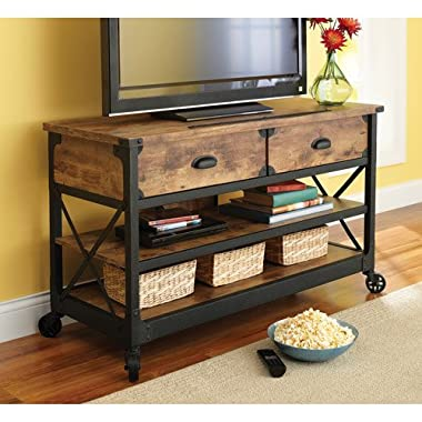 Rustic Country Antiqued Black/pine Panel Tv Stand for Tvs up to 52