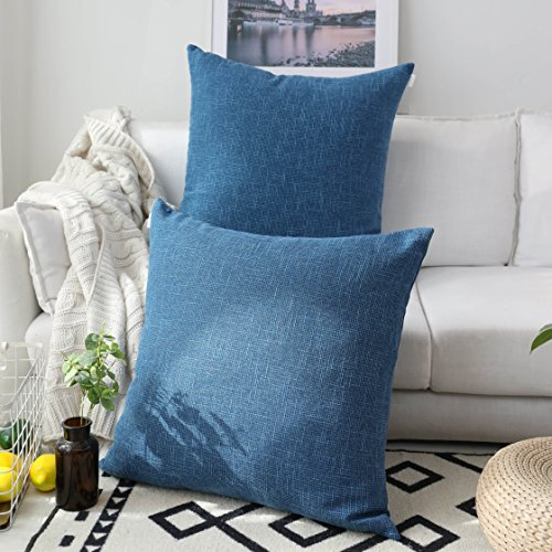 Kevin Textile Pack of 2 Decorative 2 Tone Linen Pillow Covers Cushion Cover for Chair/Sofa/Bed/Car, 24 x 24 Inches, Navy Blue
