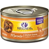 Wellness Complete Health Natural Grain Free Wet Canned Cat Food, Morsels Chicken Entrée, 3-Ounce Can (Pack Of 24)