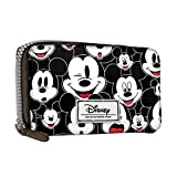 DISNEY Mickey Visage- Women's Wallet with Wrist Handle - Zip Lock and Metallic Button - Color Black
