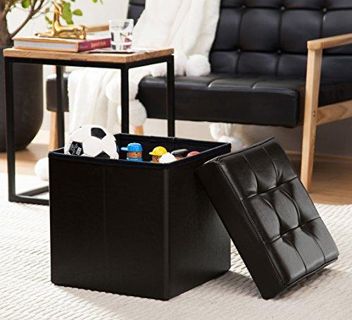 Leather Black Cube Storage Ottoman - 3