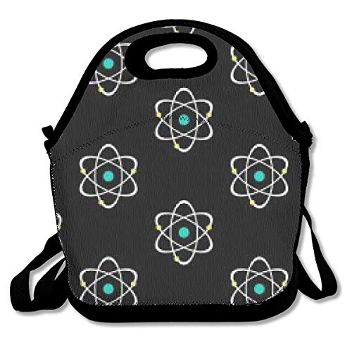 Insulated Thermal Lunch Bag, Neoprene Reusable Lunch Tote Cooler Warm Pouch for Men Women Kids Boys Girls Nurse Teacher School Office Work - Atomic Nucleus Black Lunch Box ()