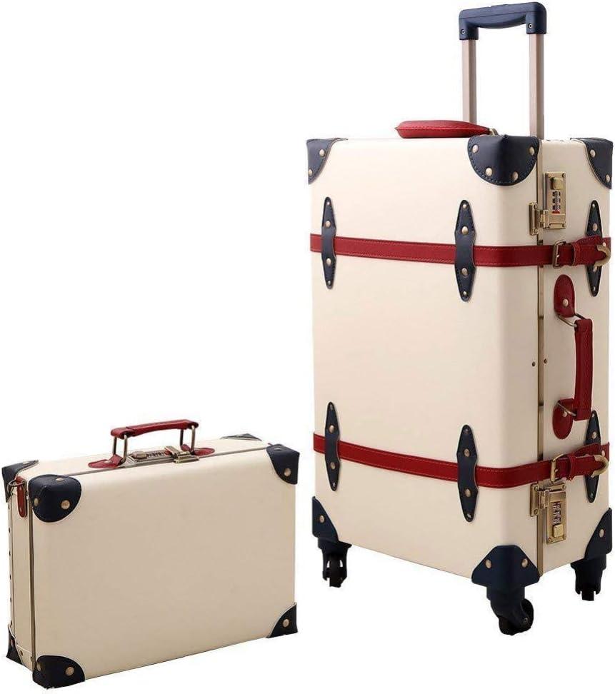 XDDJH Maleta Vintage Equipaje Equipaje Hardside Rolling Spinner Estilo Retro para Viajar