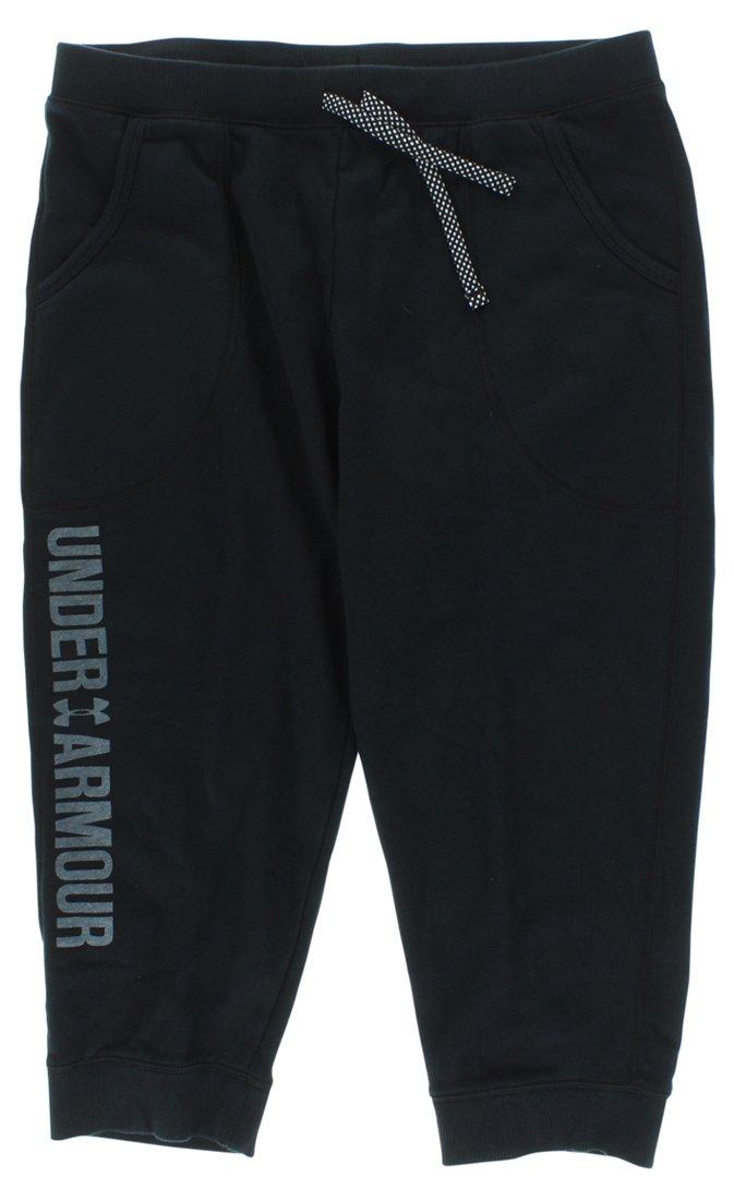 Under Armour Kids Girls' Favorite Fleece Capris (Big Kids), Black XL (18-20 X One Size by Under Armour (Image #1)