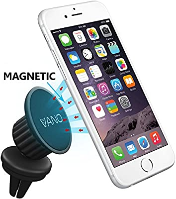 Vano® Magnetic Car Air Vent Phone Mount - Remarkable Holder That Fits Any Air Vent + Smartphone - Swivel Head For Maximum Viewing Flexibility - 100% Save - Apple iPhone 6, 6 Plus - Samsung Galaxy Note - HTC ONE - Sony Xperia - LG G2 G3 - Powerful Grip -