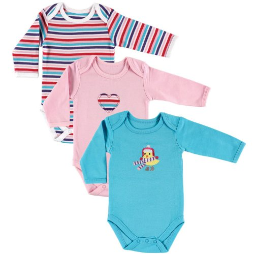 (Hudson Baby Unisex Baby Long Sleeve Bodysuits, Bird 3-Pack, 6-9 Months (9M) )