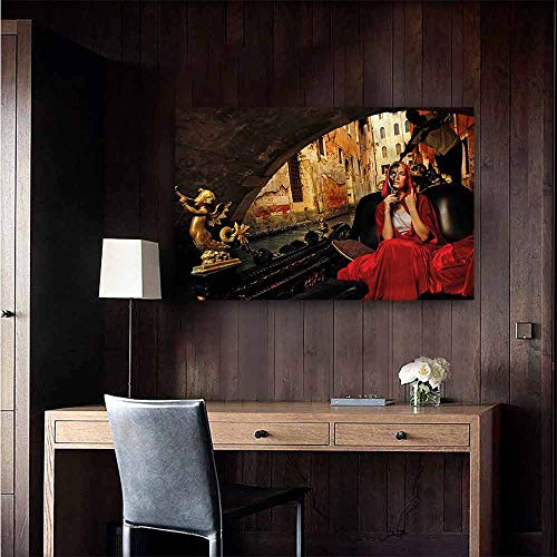 Removable Cloak - Gabriesl Wall Mural Wallpaper Stickers Venice Woman in Red Cloak Mask Large Removable Decals Size : W20 x H16