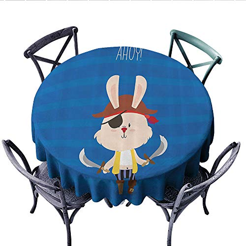 (Ahoy Its a Boy Printed Circle Tablecloth Pretty Pirate Rabbit Bunny with Eye Patch Funny Graphic Cartoon Illustration Stain Resistant Wrinkle Tablecloth (Round, 36 Inch, Multicolor) )