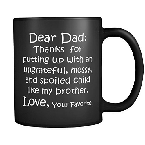 [ArtsyMod DEAR DAD THANK YOU Premium Coffee Mug, PERFECT FUNNY GIFT for Your Father! Attractive Durable Black Ceramic Mug, 11oz. (White] (Father Son Star Wars Costumes)