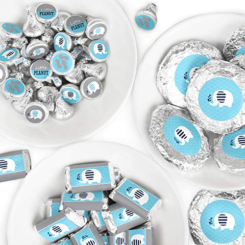 Blue Elephant - Mini Candy Bar Wrappers, Round Candy Stickers and Circle Stickers - Boy Baby Shower or Birthday Party Candy Favor Sticker Kit - 304 ()