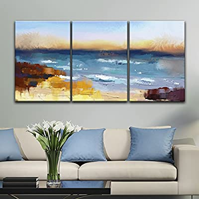 3 Panel Oil Painting Style Abstract Colorful Seascape x 3 Panels, Created By a Professional Artist, Stunning Composition