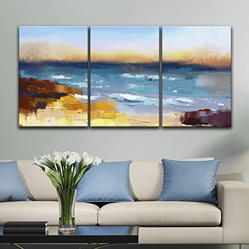 3 Panel Oil Painting Style Abstract Colorful Seascape x 3 Panels