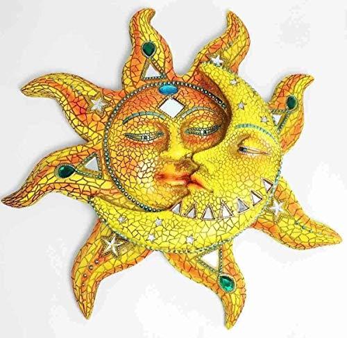 Figurine Mosaic Celestial Sun & Moon Face Wall Art Plaque Home Decorative 12