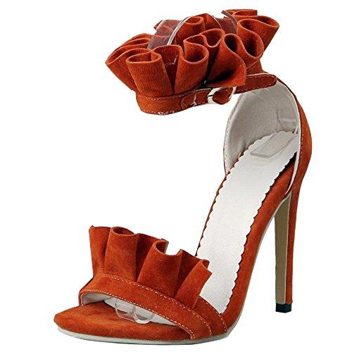 Cheville Aiguille Sandales Orange TAOFFEN Femmes Bride 4zwqBY6