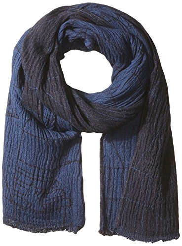 Armani Jeans Men's Viscose AND Cotton Fabric Scarf With Abstract Detail, navy blue, ONE SIZE by ARMANI JEANS