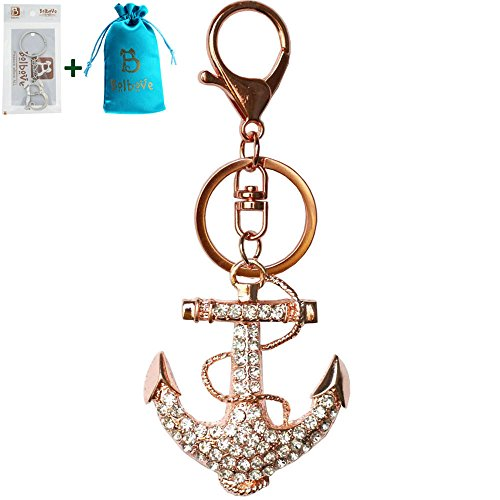 Bolbove Anchor Keychain Sparkling Keyring Crystal Rhinestones Purse Pendant Handbag Charm