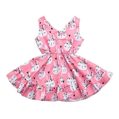 NUWFOR Easter Children Kids Baby Girls Sleeveless Rabbit Print Princess Vest Dress(Pink,18-24 Months) ()