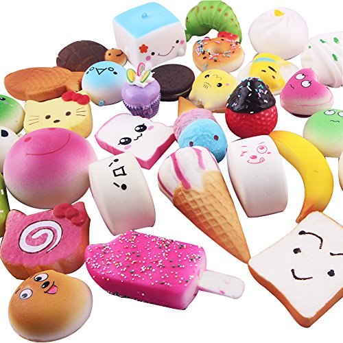 Geefia 20 Pcs Squishy Toys Random Cute Mini Food squishies Fidget Stress Relief Toys Phone Charm Key Chain Strap Lovely Soft Bread Cake Doughnut Party Favors Toy Gift for Kids and Adults