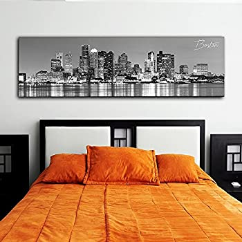 "Black & White Panoramic Cities 14""X48"" Canvas Boston City 14""x 48"" Wall Decoration Photography Image Printed on Canvas Stretched & Framed Ready to Hang"