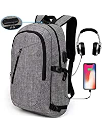 Laptop Backpack,Travel Computer Bag for Women & Men,Anti Theft Water Resistant College School Bookbag,Slim Business Backpack w/USB Charging Port Fits up to15.6 Inch Laptop Notebook,Grey
