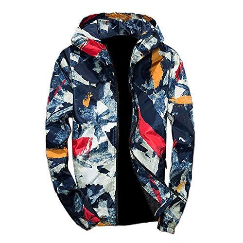 Signori Stampa Camicetta Maniche Uomo Abcone Top Con A Coat Blu Camouflage Cappotti Cappuccio Jacket Giacca Lunghe Cappotto Pullover zn6ExqAwE