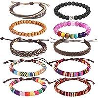 Forever & Ever Leather Chakra Bead Tribal Bracelet - (Unisex) 12 Pack Charm Ethnic Hand Knit Boho String Hemp Wood Beaded Bracelets for Men Women Girls Jewelry Wristbands